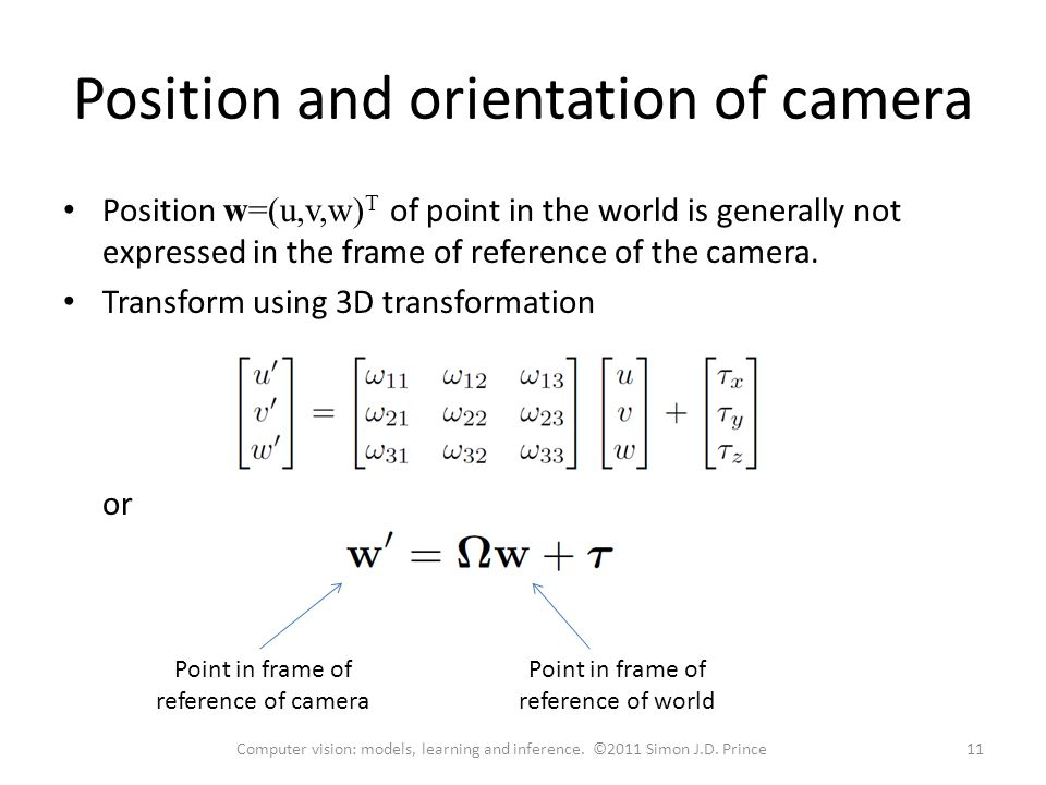 Position and orientation of camera