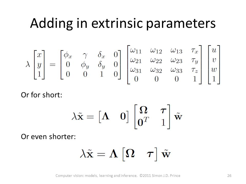 Adding in extrinsic parameters