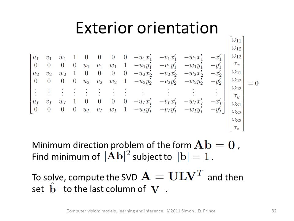 Exterior orientation Minimum direction problem of the form , Find minimum of subject to .