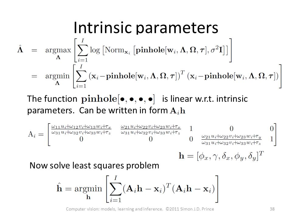 Intrinsic parameters The function is linear w.r.t. intrinsic parameters. Can be written in form.