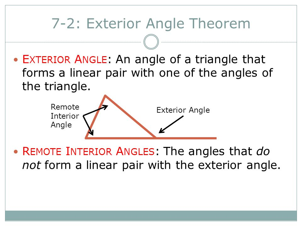 7-2: Exterior Angle Theorem - ppt video online download