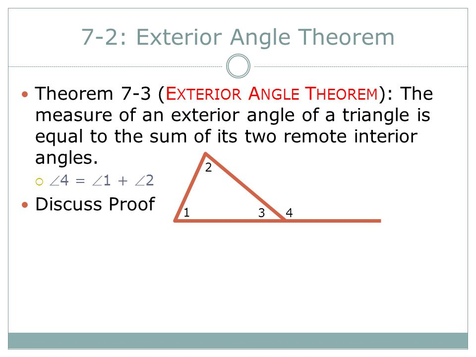 7 2 exterior angle theorem ppt video online download - Sum of the exterior angles of a triangle ...