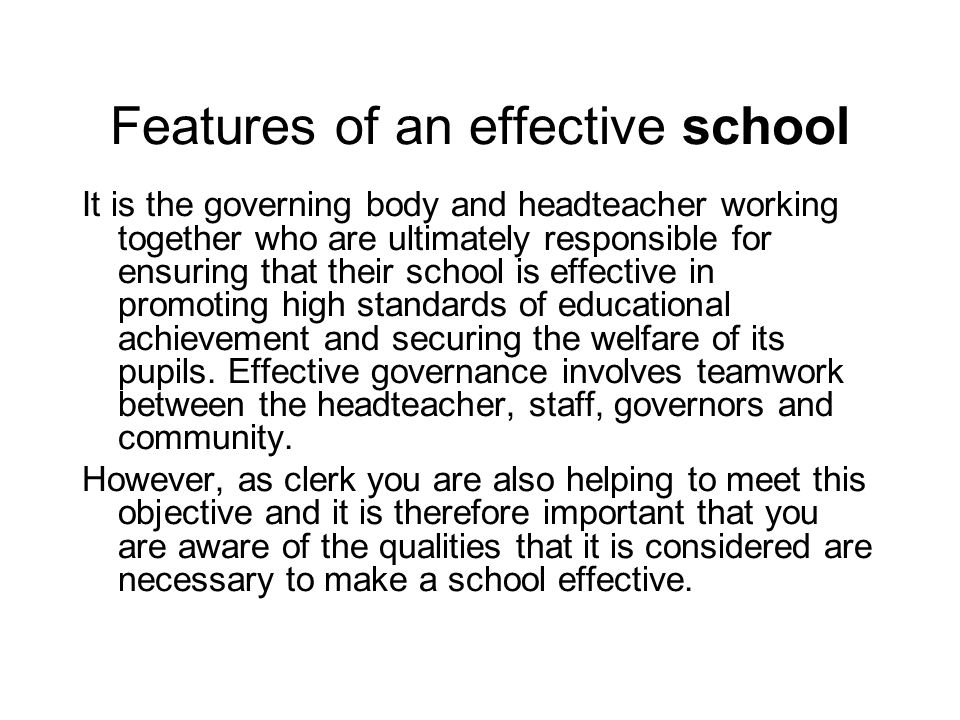 Features of an effective school