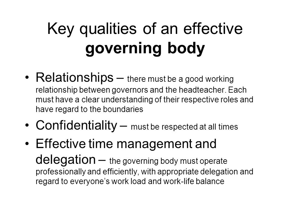 Key qualities of an effective governing body