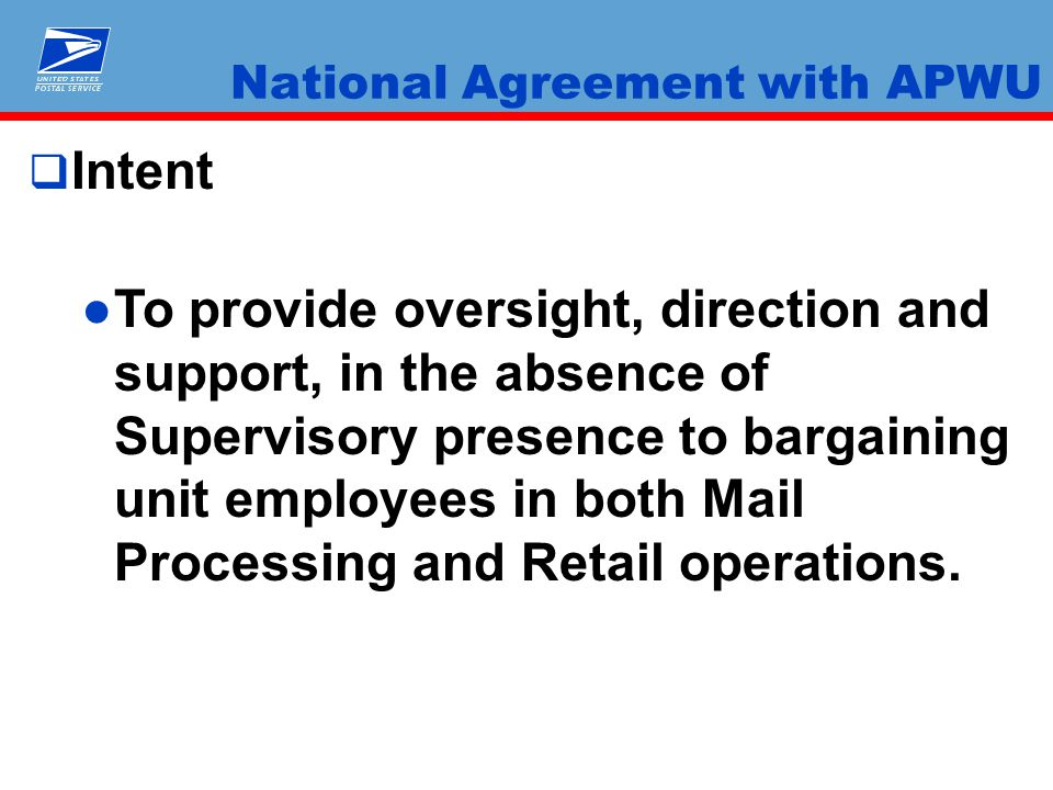 National Agreement With Apwu Ppt Video Online Download