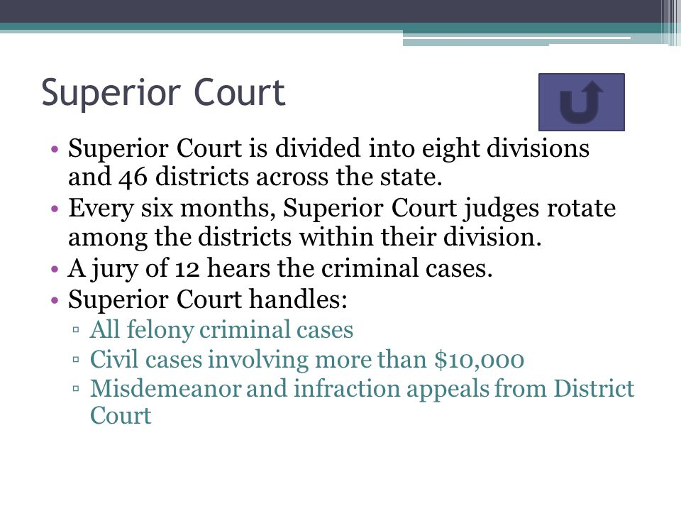 Superior Court Superior Court is divided into eight divisions and 46 districts across the state.