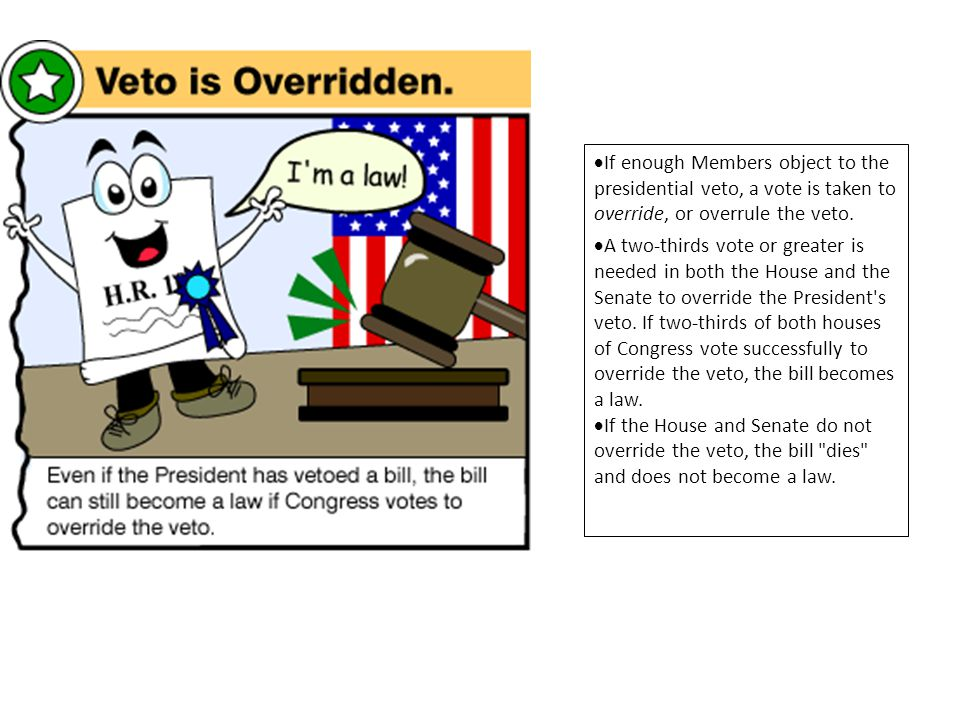 If enough Members object to the presidential veto, a vote is taken to override, or overrule the veto.