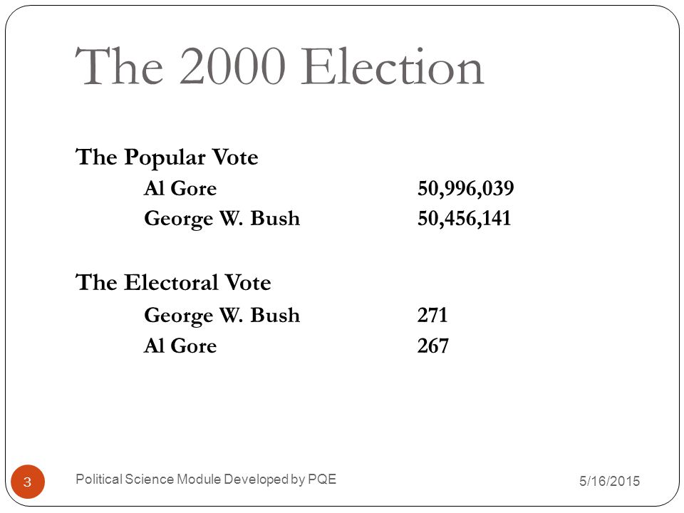 The 2000 Election The Popular Vote The Electoral Vote
