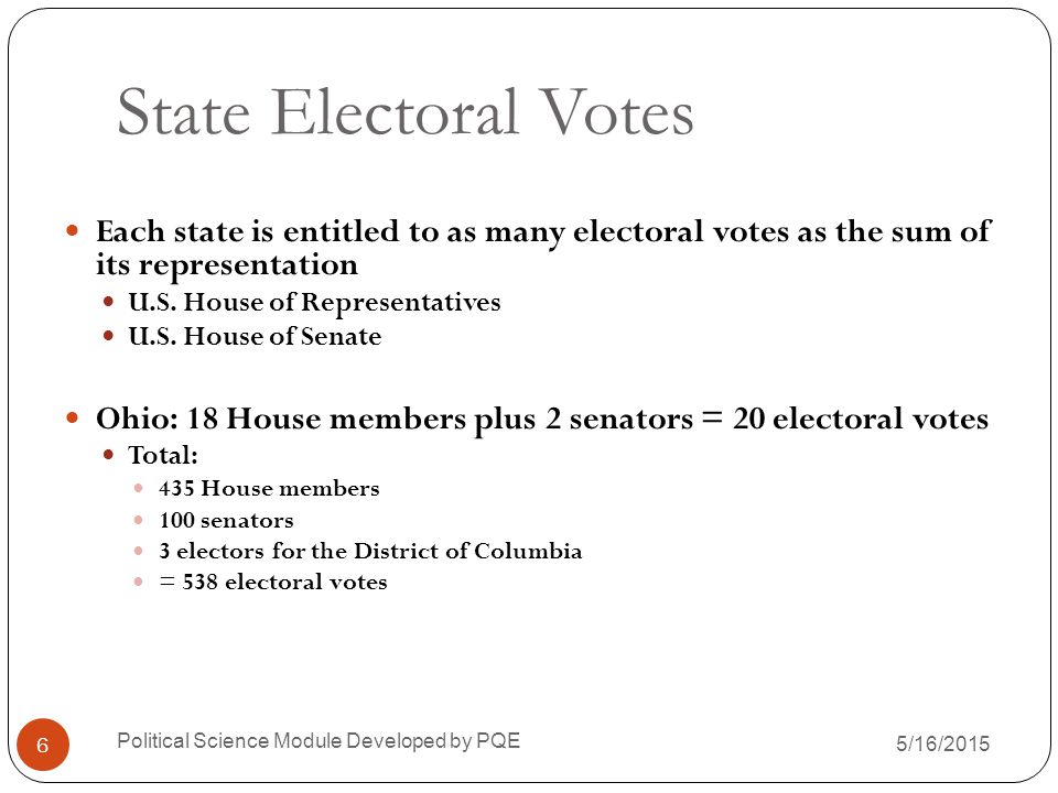 State Electoral Votes Each state is entitled to as many electoral votes as the sum of its representation.
