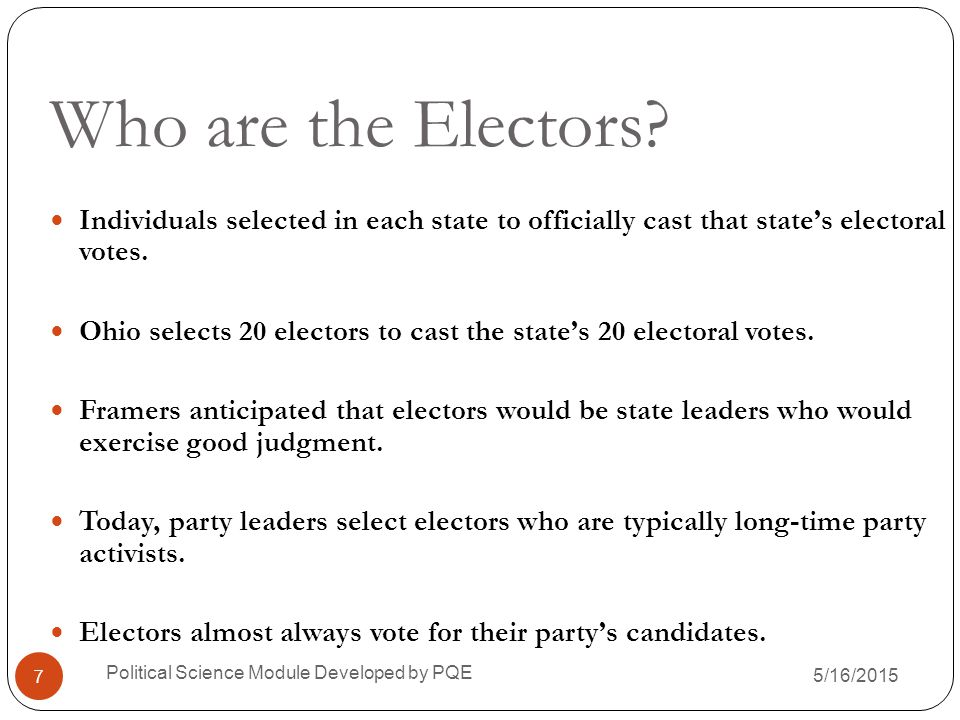 Who are the Electors Individuals selected in each state to officially cast that state's electoral votes.