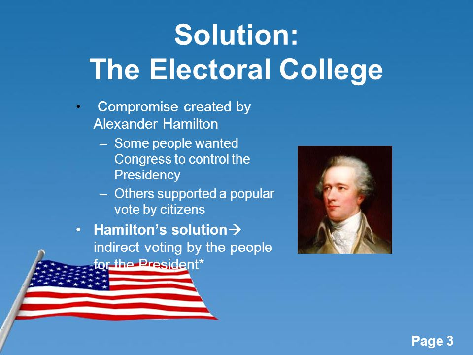 voting and the electoral collegue The electoral college was written into the us constitution in 1787, a time when our nation was new and still struggling in many ways, including politically of primary concern was the possibility of a nationwide election breaking down into chaos and confusion.
