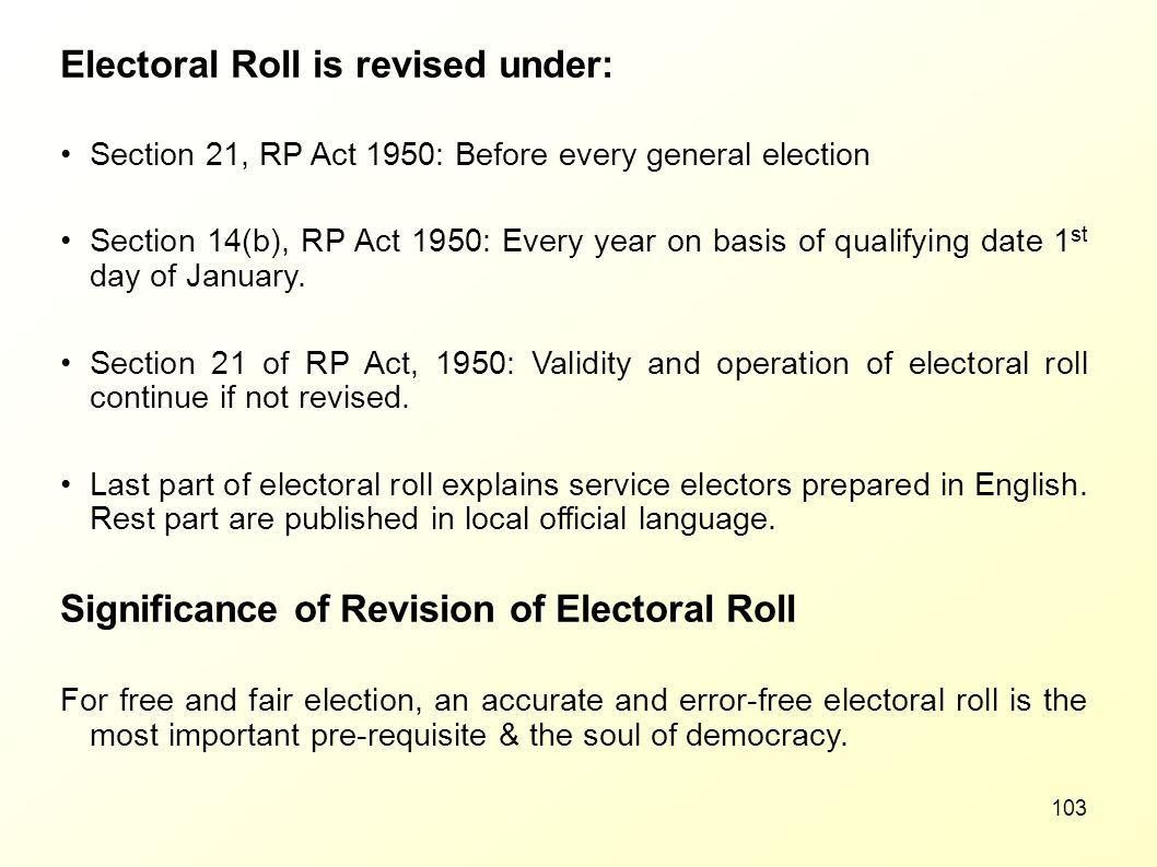 Electoral Roll is revised under: