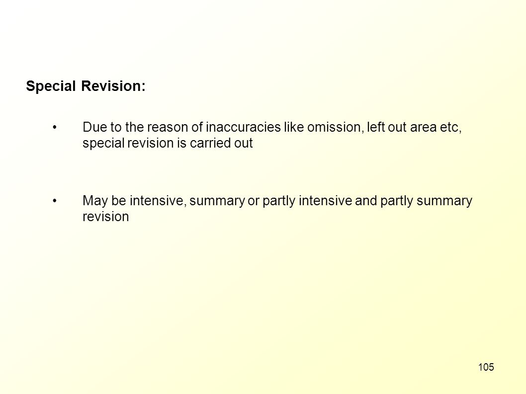 Special Revision: Due to the reason of inaccuracies like omission, left out area etc, special revision is carried out.