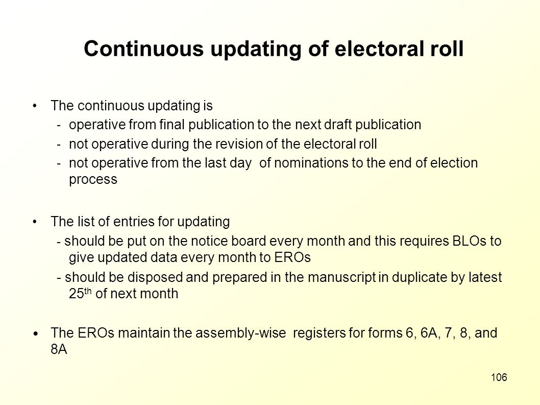Continuous updating of electoral roll