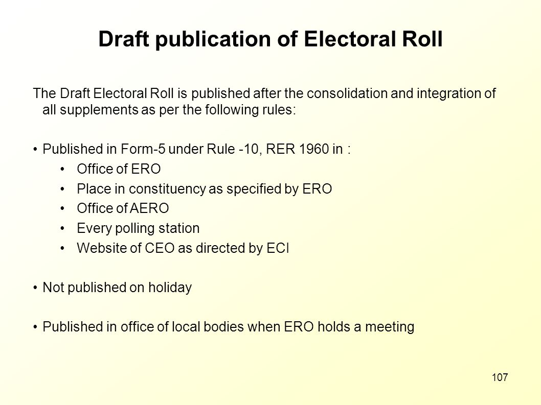 Draft publication of Electoral Roll
