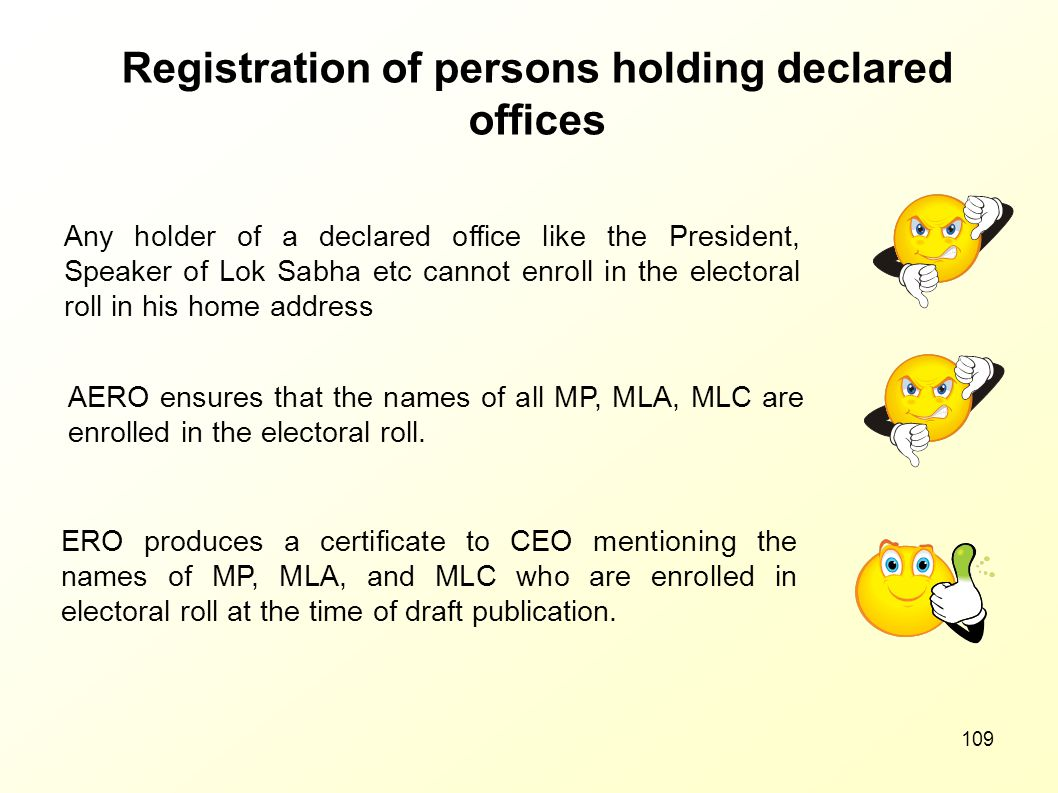 Registration of persons holding declared offices