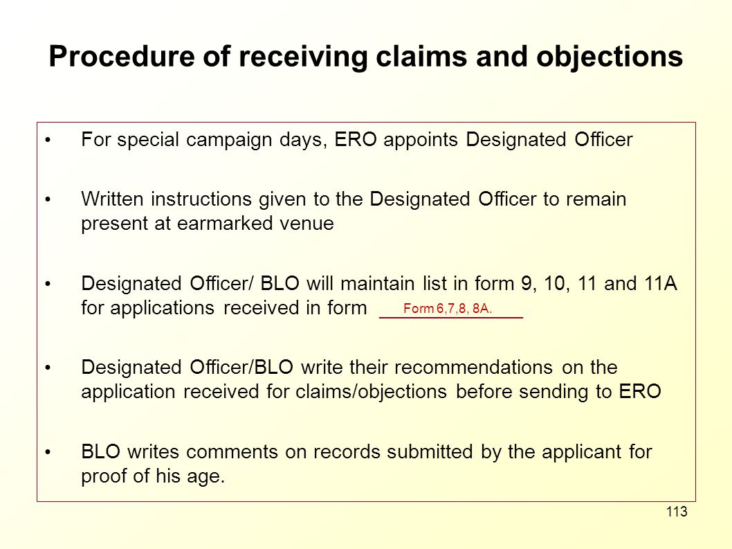 Procedure of receiving claims and objections