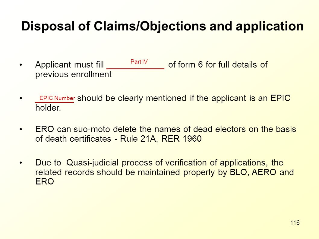 Disposal of Claims/Objections and application
