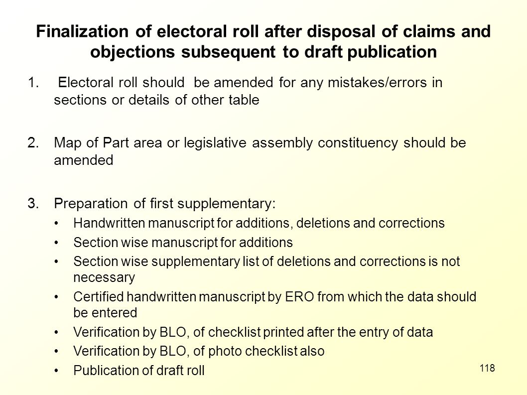 Finalization of electoral roll after disposal of claims and objections subsequent to draft publication