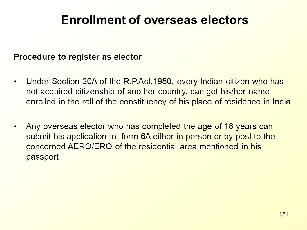 Enrollment of overseas electors