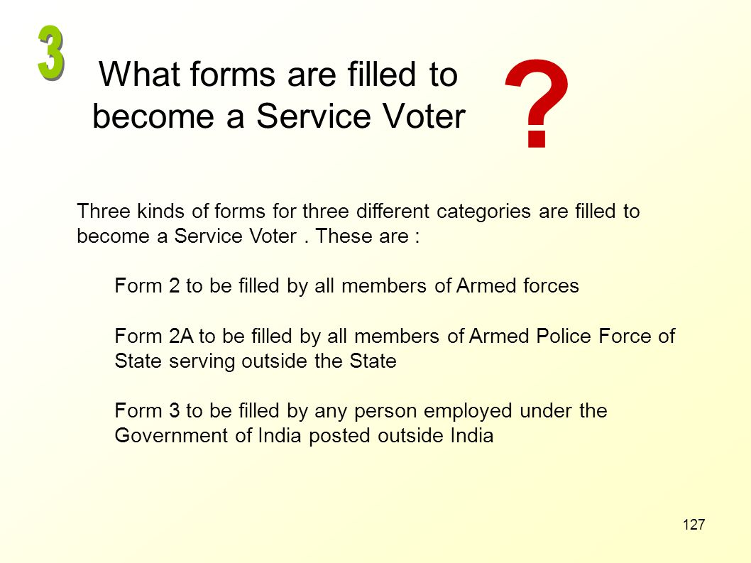 What forms are filled to become a Service Voter