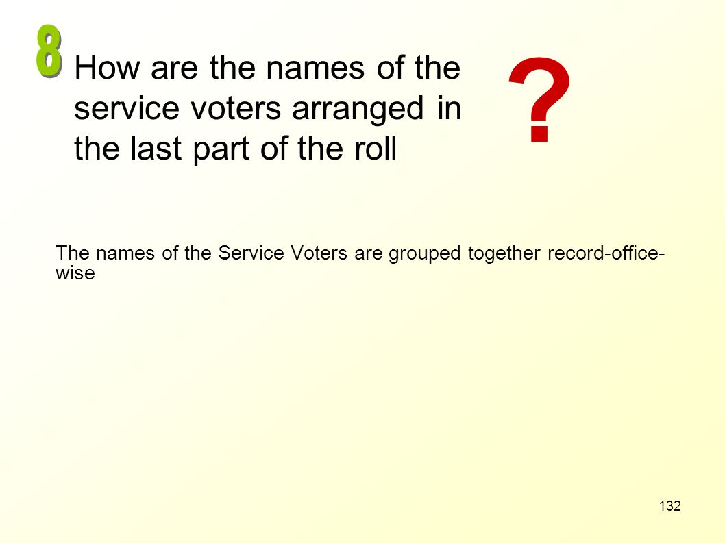 8 How are the names of the service voters arranged in the last part of the roll.