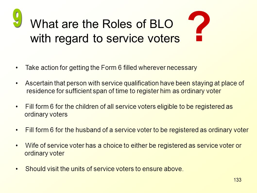 What are the Roles of BLO with regard to service voters