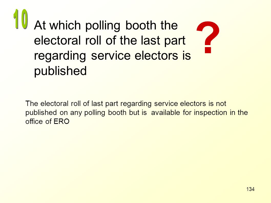 10 At which polling booth the electoral roll of the last part regarding service electors is published.