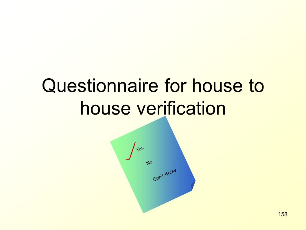 Questionnaire for house to house verification