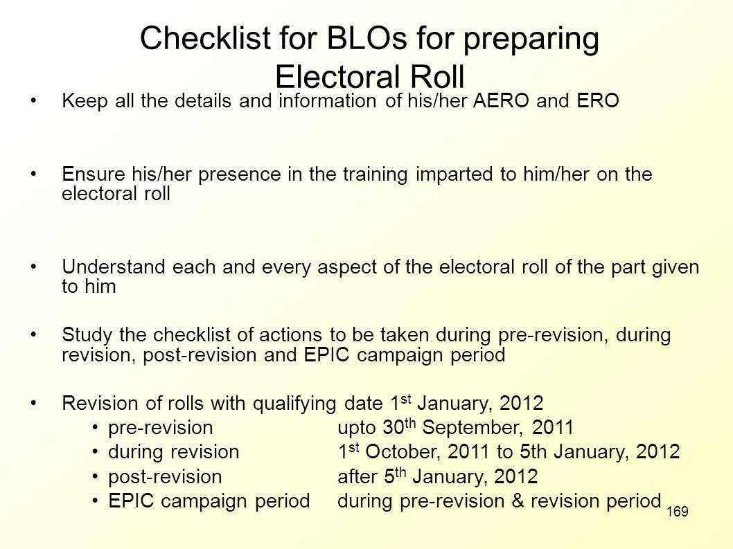 Checklist for BLOs for preparing