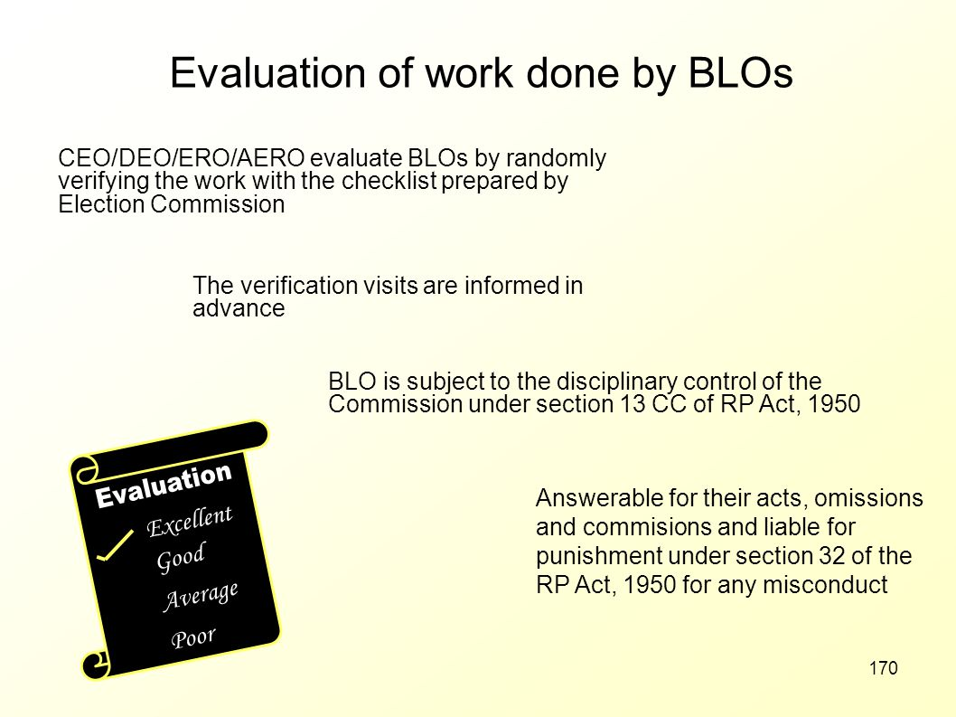 Evaluation of work done by BLOs