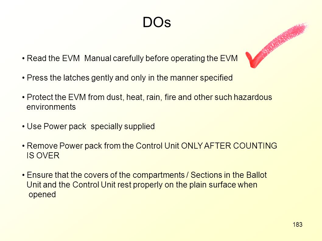 DOs Read the EVM Manual carefully before operating the EVM
