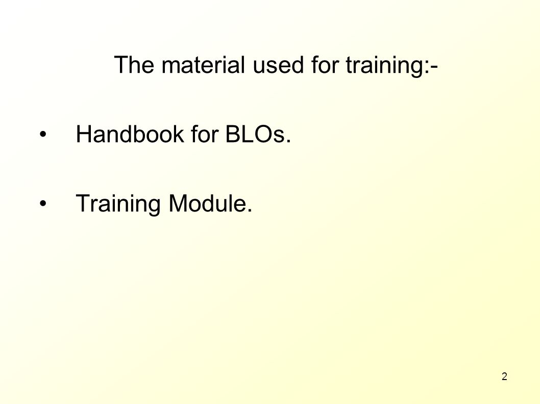 The material used for training:-