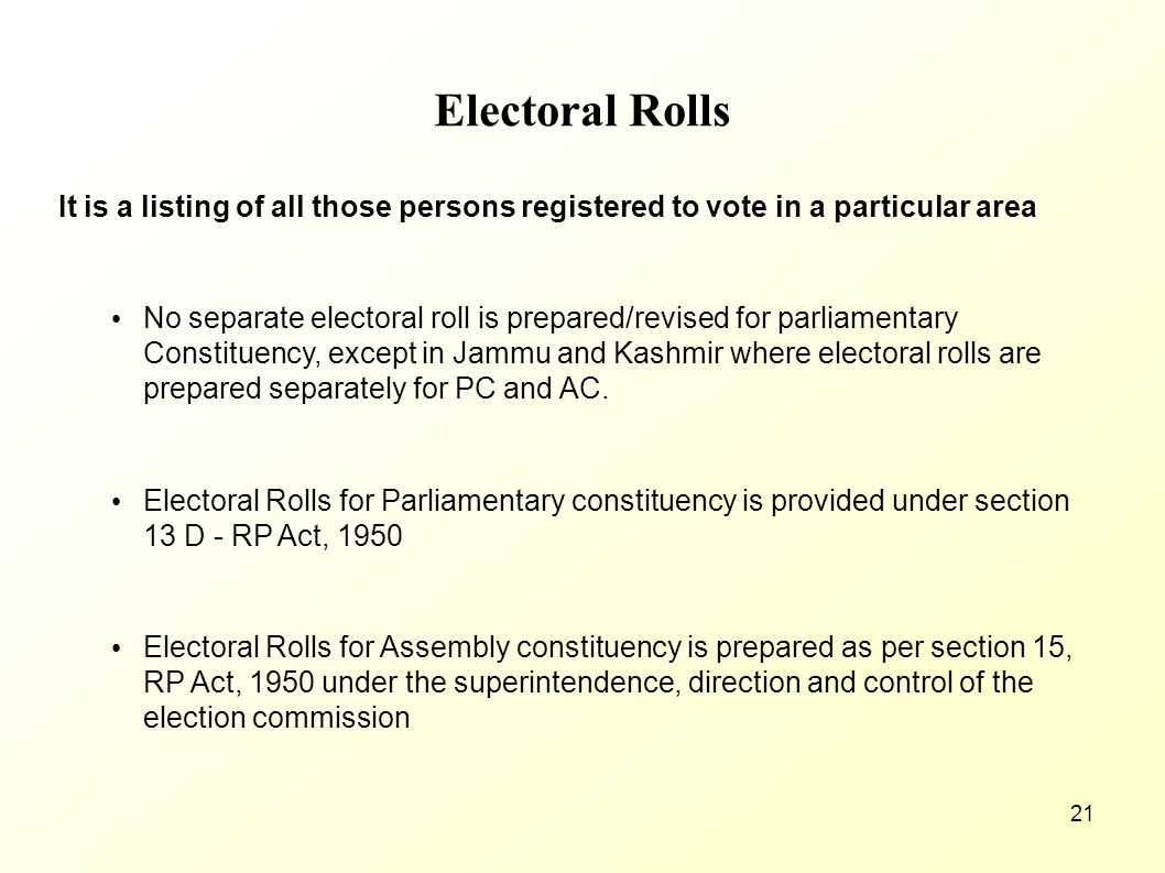Electoral Rolls It is a listing of all those persons registered to vote in a particular area.