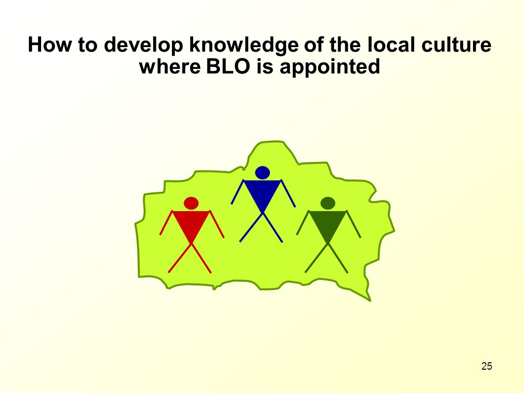 How to develop knowledge of the local culture where BLO is appointed