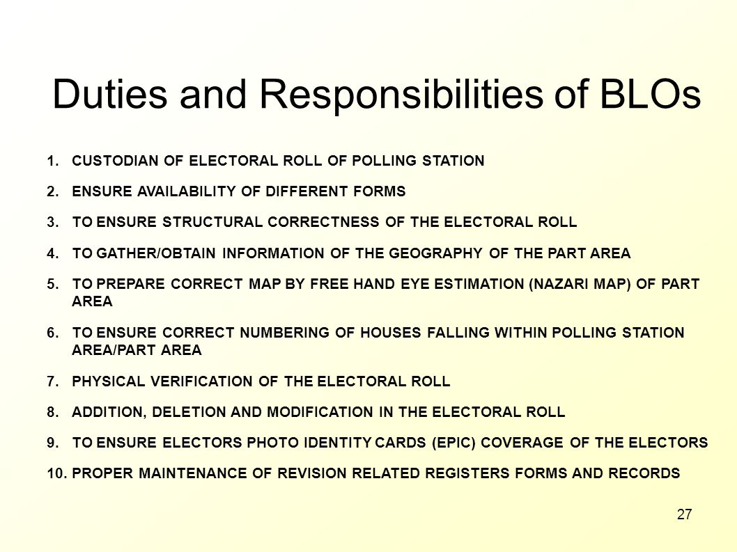 Duties and Responsibilities of BLOs
