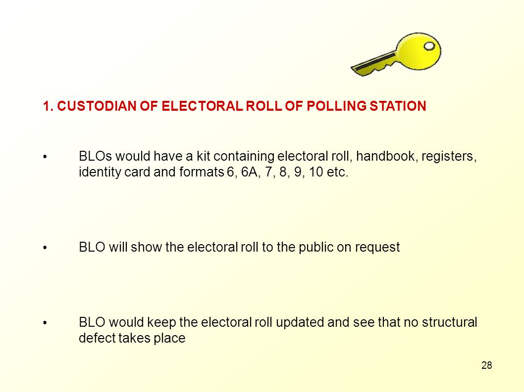 1. CUSTODIAN OF ELECTORAL ROLL OF POLLING STATION