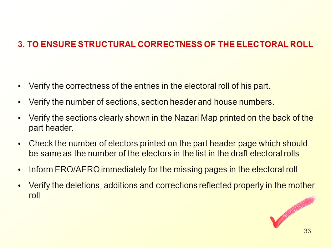 3. TO ENSURE STRUCTURAL CORRECTNESS OF THE ELECTORAL ROLL