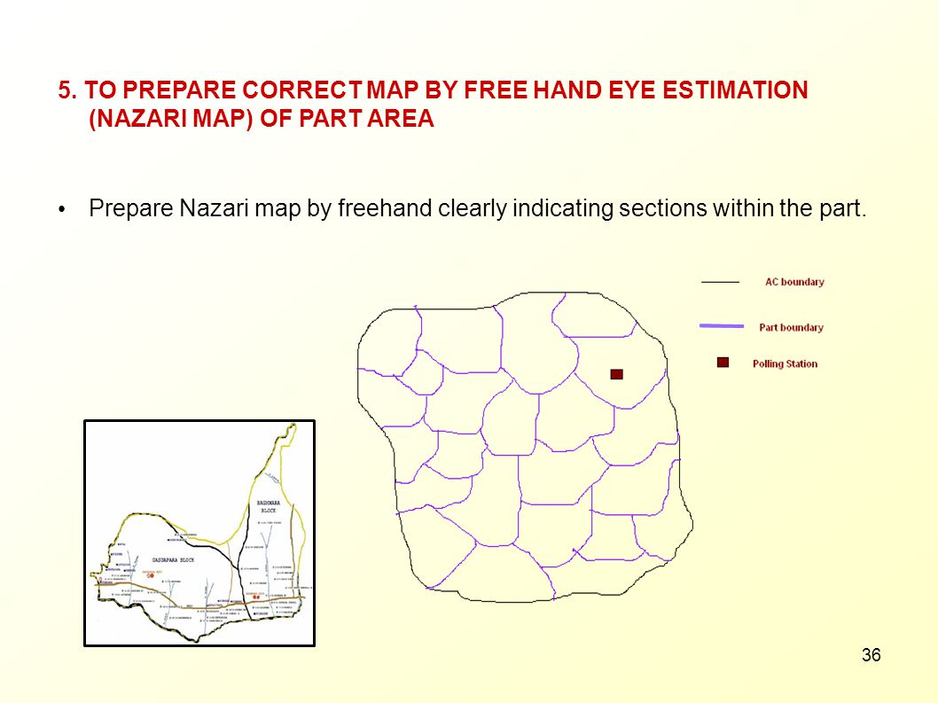 5. TO PREPARE CORRECT MAP BY FREE HAND EYE ESTIMATION (NAZARI MAP) OF PART AREA