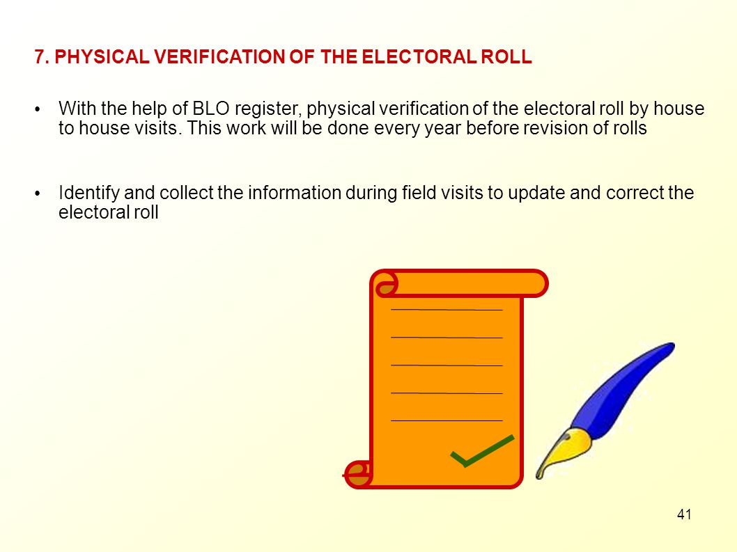 7. PHYSICAL VERIFICATION OF THE ELECTORAL ROLL
