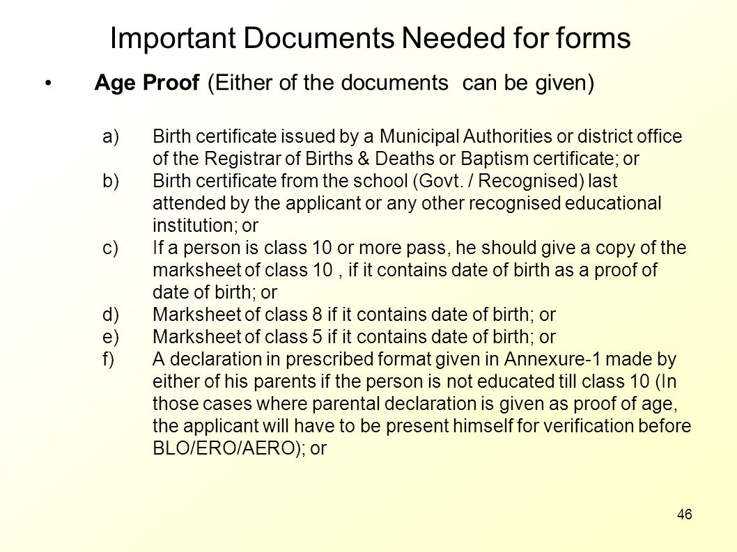 Important Documents Needed for forms