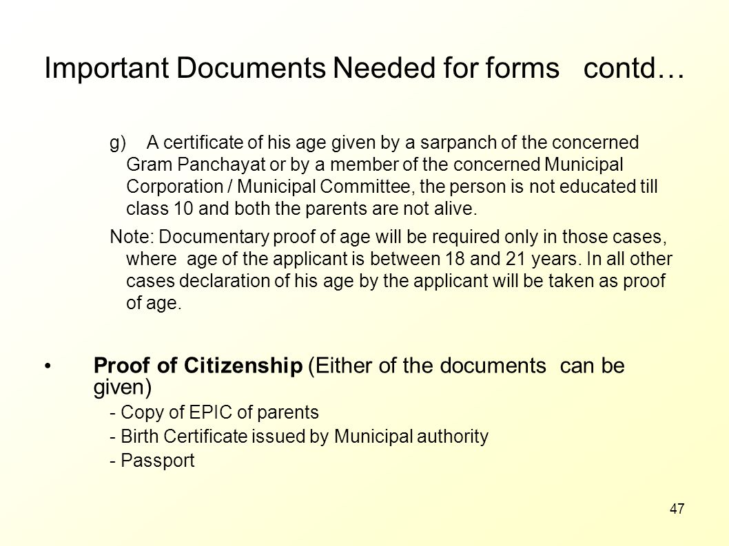Important Documents Needed for forms contd…