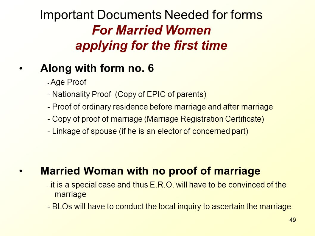 Important Documents Needed for forms For Married Women applying for the first time