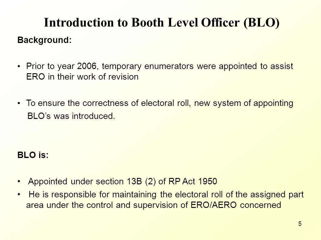 Introduction to Booth Level Officer (BLO)