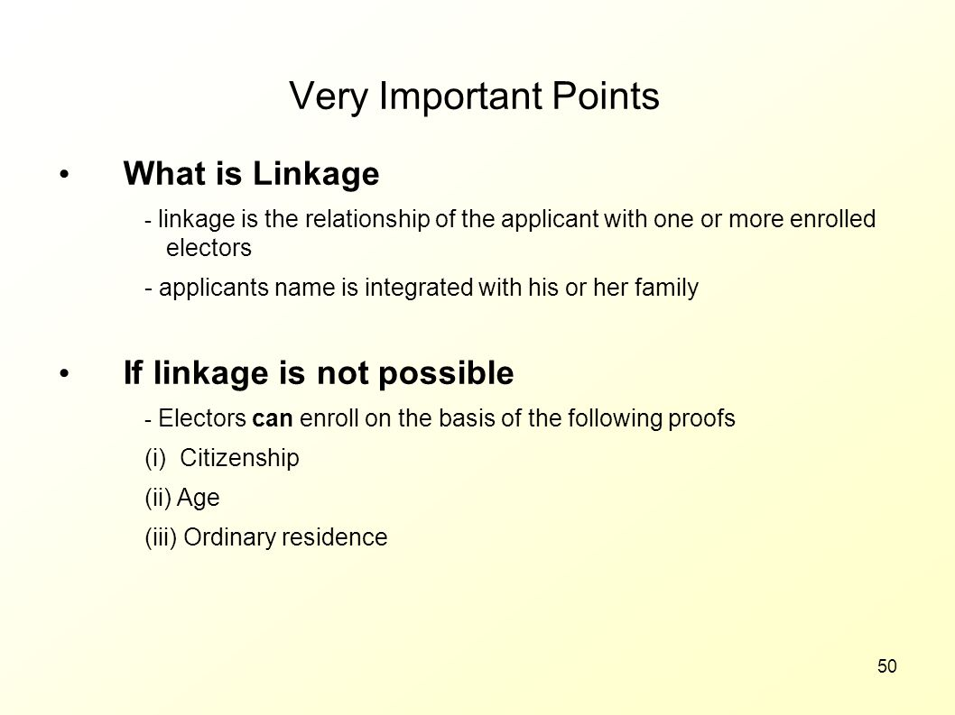 Very Important Points What is Linkage If linkage is not possible