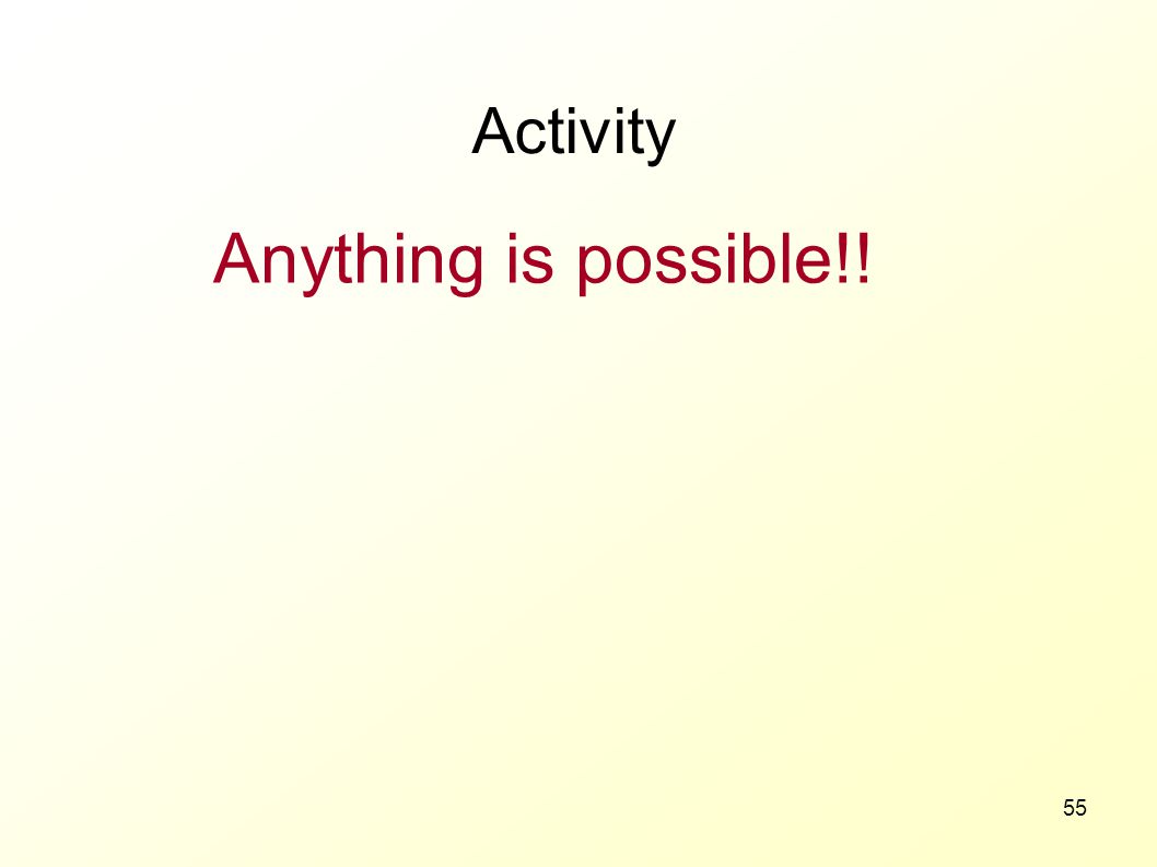 Anything is possible!! Activity 3 MINUTES