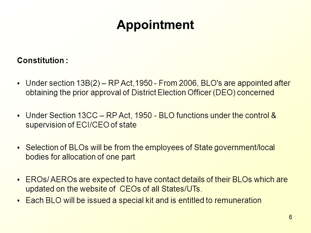 Appointment Constitution :