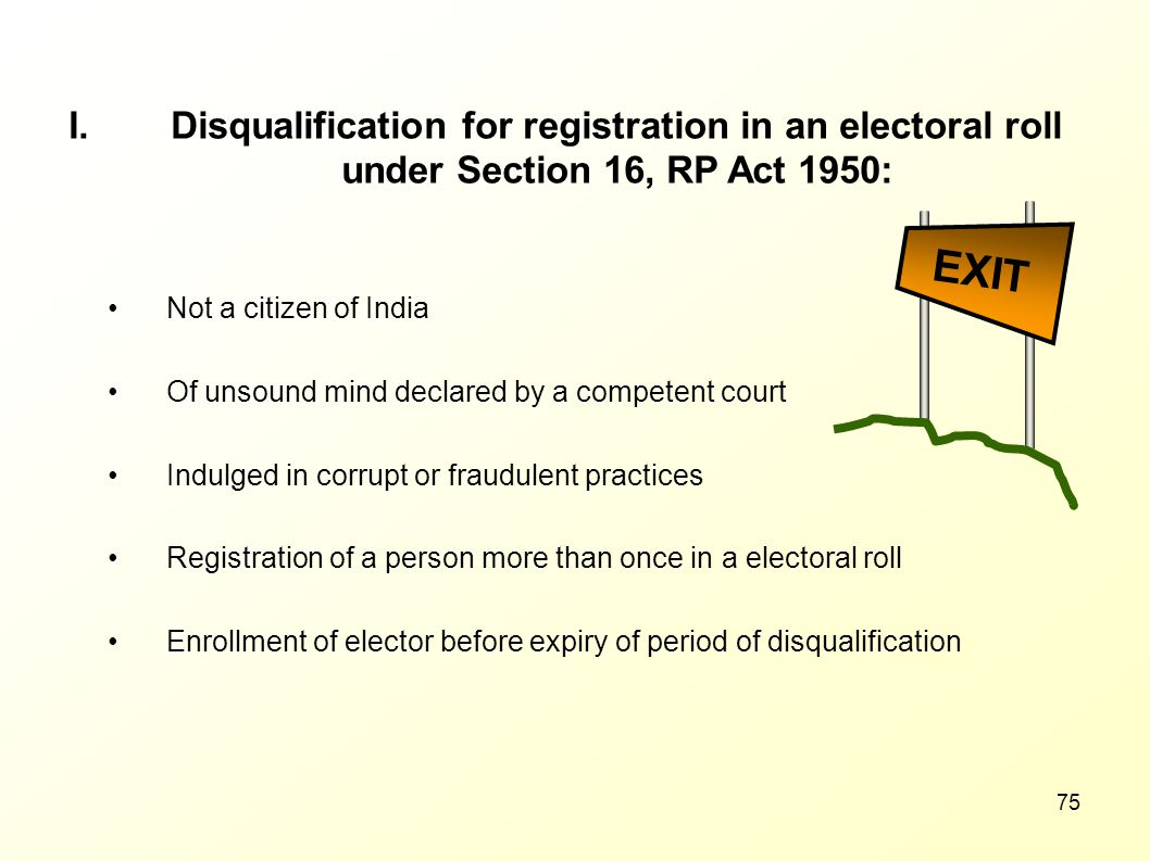 Disqualification for registration in an electoral roll under Section 16, RP Act 1950: