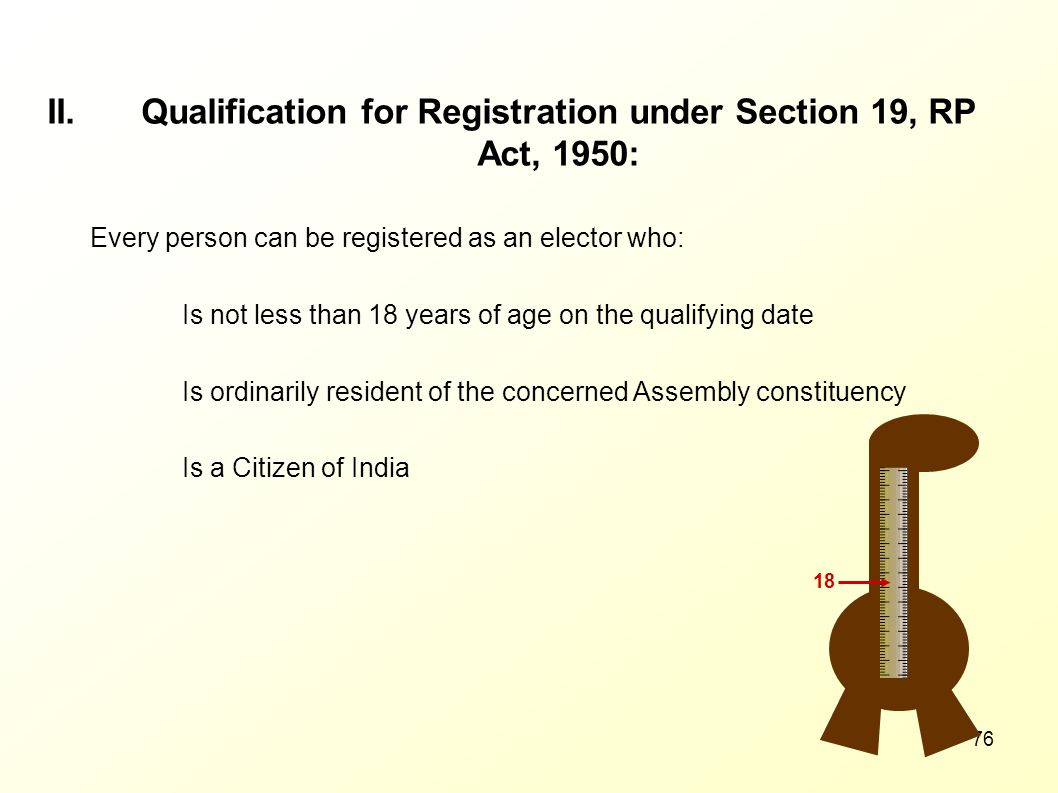 Qualification for Registration under Section 19, RP Act, 1950: