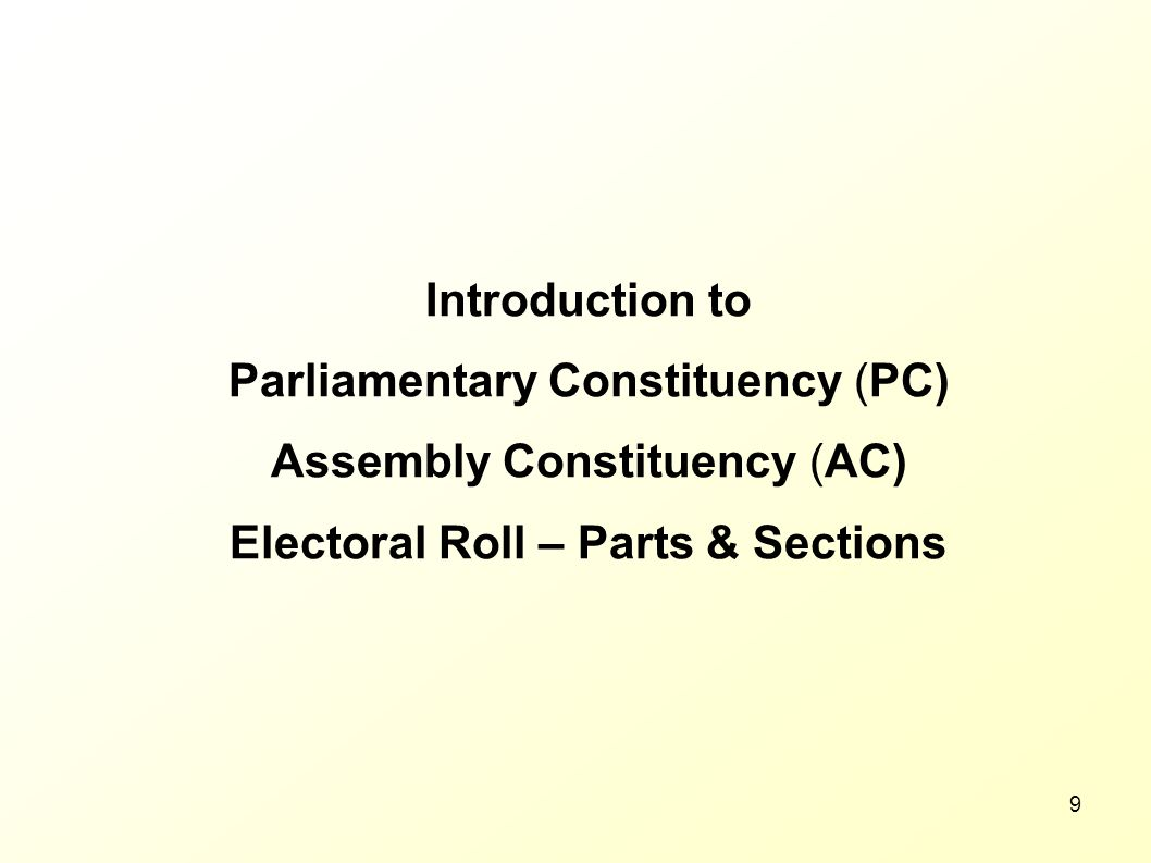 Electoral Roll – Parts & Sections